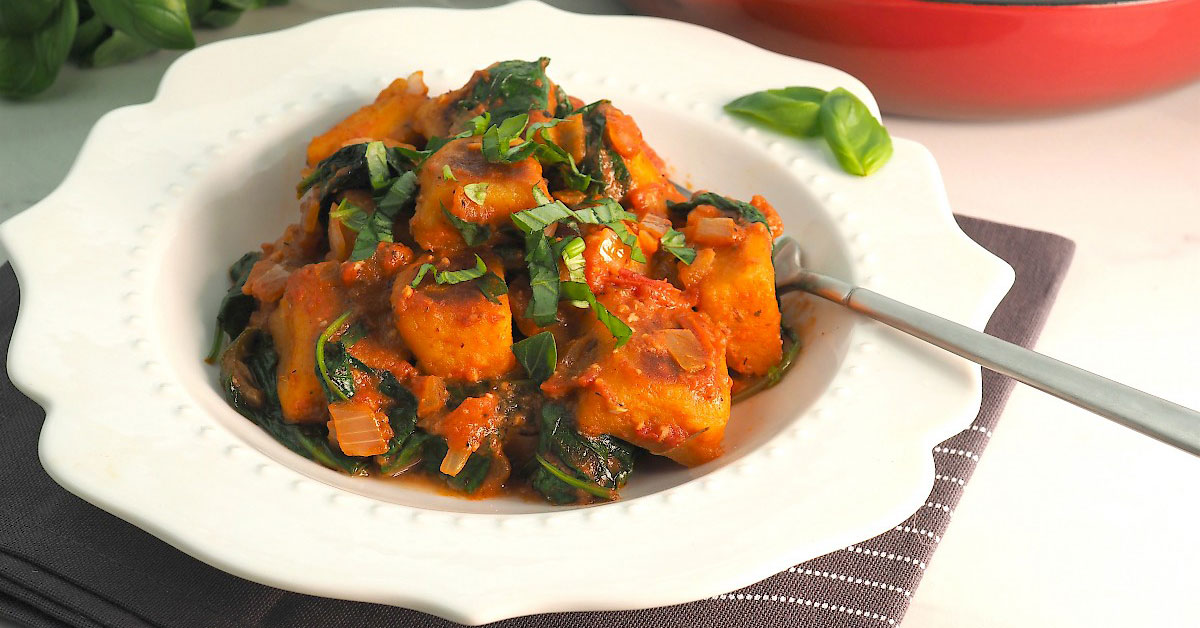 Sweet Potato Gnocchi with Creamy Tomato & Spinach Sauce