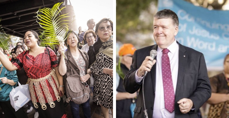 women with palm branches walking in parade and Superintendent Keith Garner Preaching