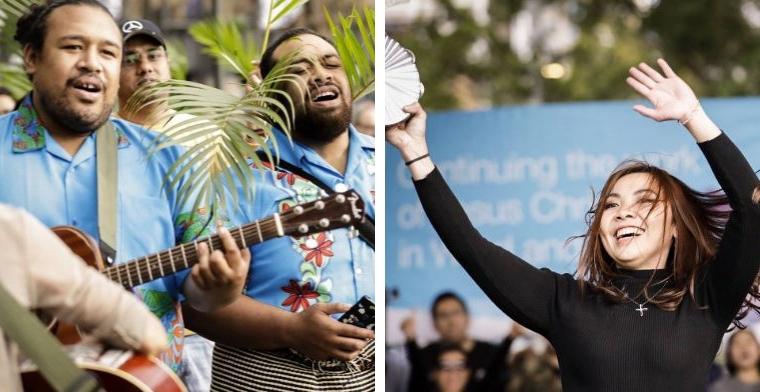 Men singing and playing guitars, woman dancing and playing tamborine