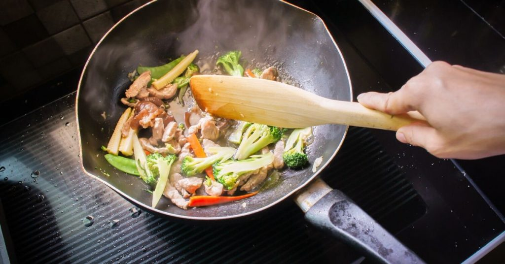 photo of a stir fry cooking in a frying pan