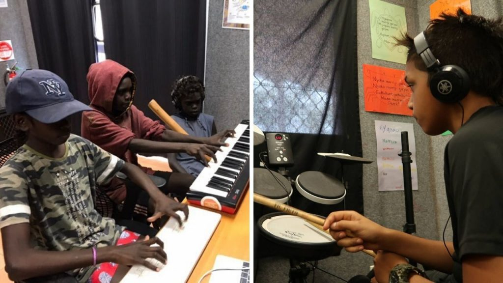 indigenous kids playing the drums and keyboard