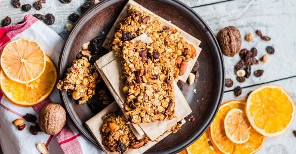 photo shows a handmade granola bar