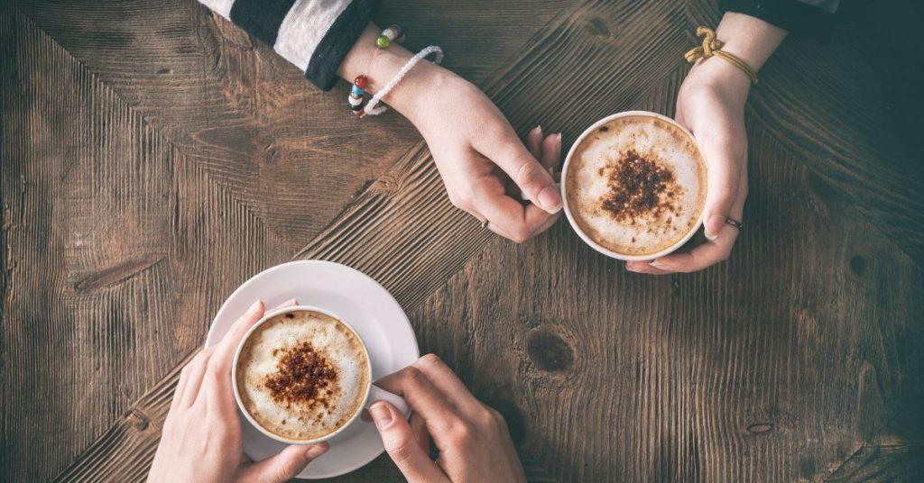 two ladies having coffee
