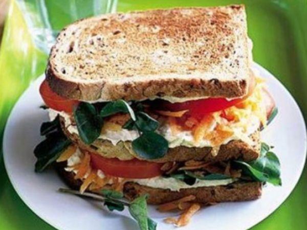 photo shows a vegetarian club sandwich