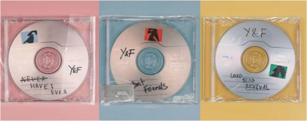 three singles off the the album, never have i ever, best friends and lord send revival
