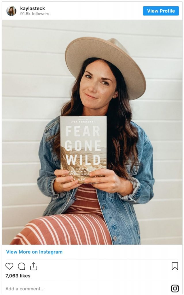 kayla stoecklein holds new book called fear gone wild