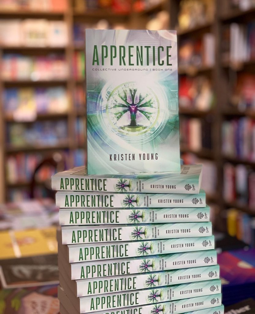 Book display of Kristen Young's book, Apprentice